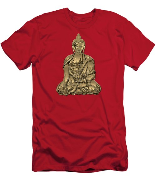 Sacred Symbols - Gold Buddha On Black And Red  Men's T-Shirt (Athletic Fit)