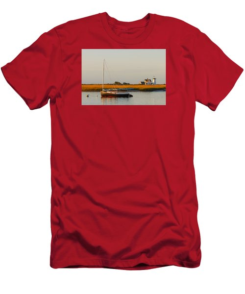 Sailboat Stage Harbor Lighthouse Men's T-Shirt (Athletic Fit)