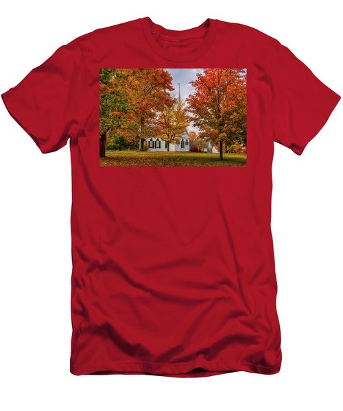 Men's T-Shirt (Athletic Fit) featuring the photograph Salem Church In Autumn by Jeff Folger