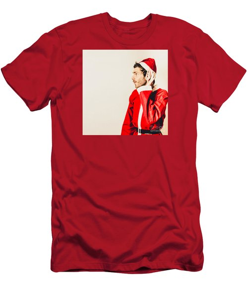 Men's T-Shirt (Athletic Fit) featuring the photograph Santas Little Helper Listening To Christmas Orders by Jorgo Photography - Wall Art Gallery