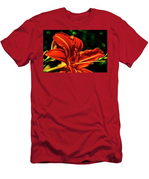 Men's T-Shirt (Slim Fit) featuring the photograph Scarlet Flower  by Joseph Hollingsworth
