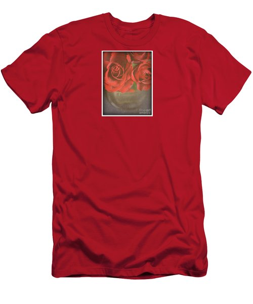 Men's T-Shirt (Slim Fit) featuring the photograph Scarlet Roses by Lyn Randle
