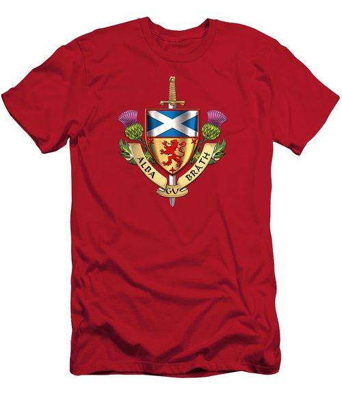 Scotland Forever - Alba Gu Brath - Symbols Of Scotland Over Red Velvet Men's T-Shirt (Athletic Fit)