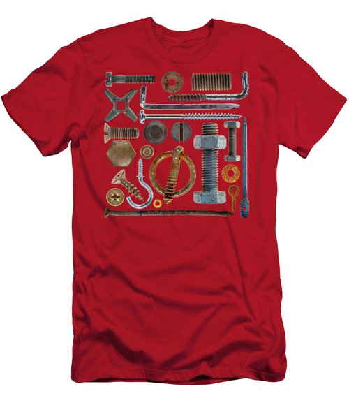 Screws, Nuts Bolts And Hooks On Transparent Background Men's T-Shirt (Athletic Fit)