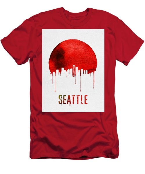 Seattle Skyline Red Men's T-Shirt (Athletic Fit)