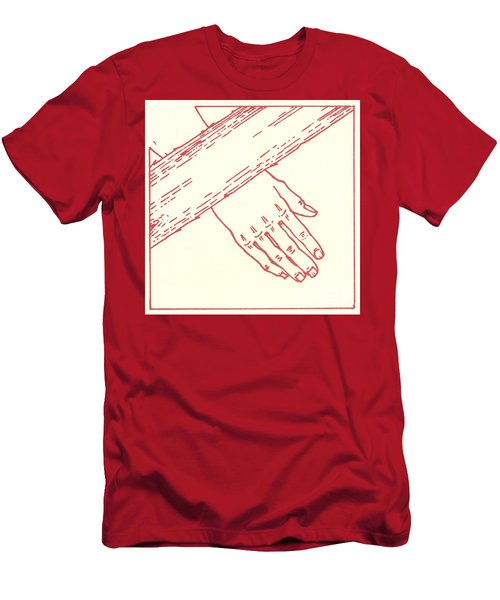 Men's T-Shirt (Athletic Fit) featuring the drawing Seventh Station- Jesus Falls The Second Time  by William Hart McNichols