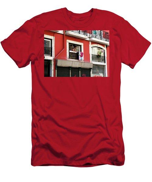 She Takes A Break Men's T-Shirt (Slim Fit) by Lorraine Devon Wilke