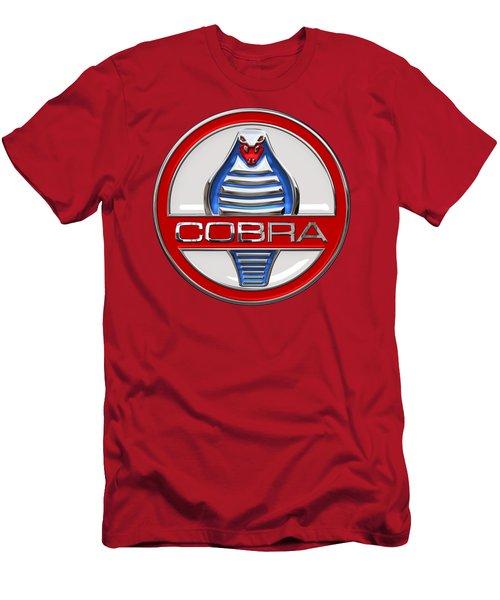 Shelby Ac Cobra - Original 3d Badge On Red Men's T-Shirt (Slim Fit) by Serge Averbukh