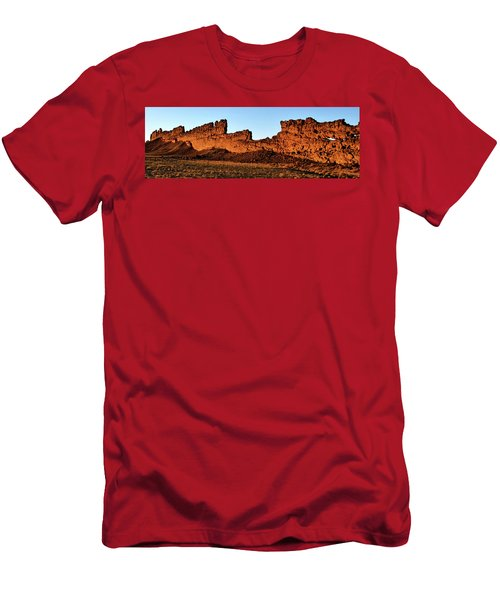 Shiprock Lava Wall 003 Panorama Men's T-Shirt (Slim Fit) by George Bostian