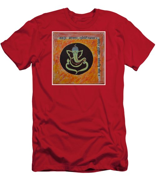 Men's T-Shirt (Slim Fit) featuring the painting Shri Ganeshay Namah by Sonali Gangane