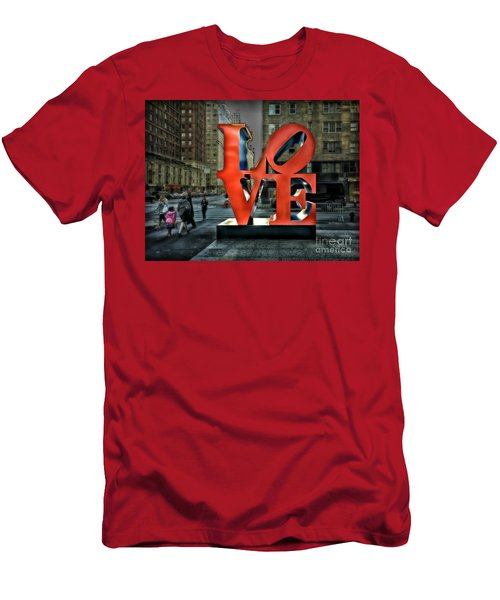 Men's T-Shirt (Slim Fit) featuring the photograph Sights In New York City - Love Statue by Walt Foegelle