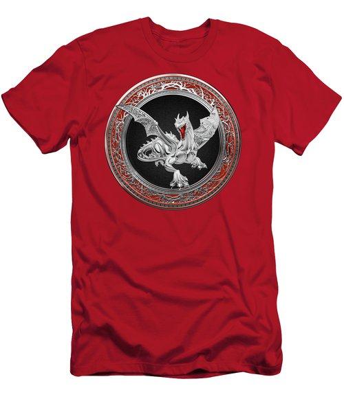 Silver Guardian Dragon Over Red Velvet  Men's T-Shirt (Slim Fit) by Serge Averbukh