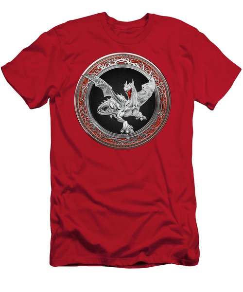 Silver Guardian Dragon Over Red Velvet  Men's T-Shirt (Athletic Fit)
