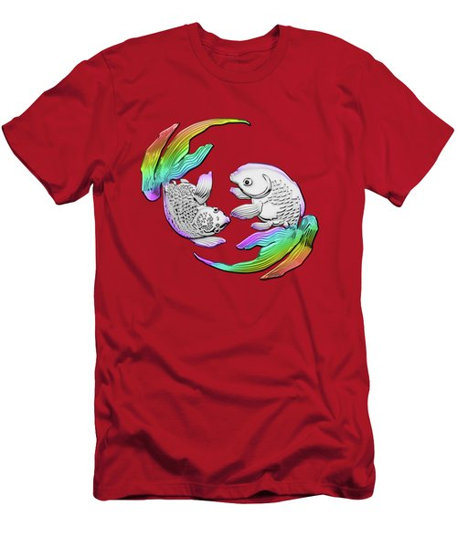 Silver Japanese Koi Goldfish Over Red Canvas Men's T-Shirt (Slim Fit)