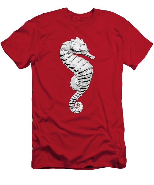 Silver Seahorse On Red Canvas Men's T-Shirt (Slim Fit) by Serge Averbukh