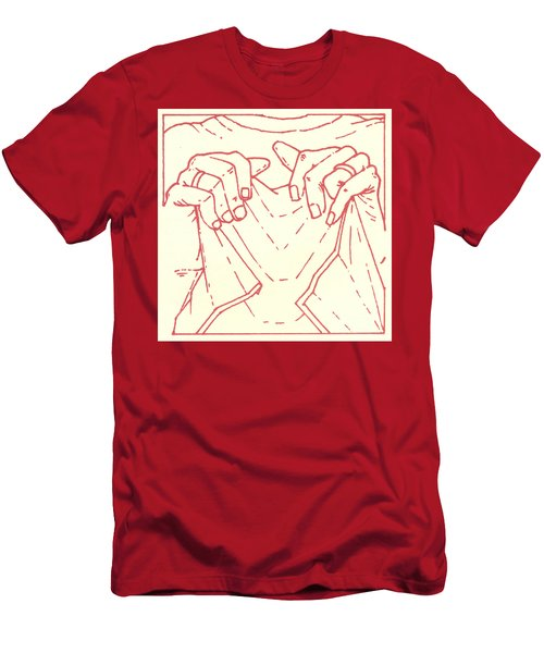 Men's T-Shirt (Athletic Fit) featuring the drawing Sixth Station- Veronica Wipes The Face Of Jesus by William Hart McNichols
