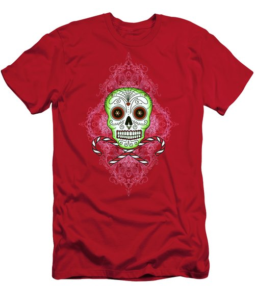 Skull And Candy Canes Men's T-Shirt (Slim Fit) by Tammy Wetzel