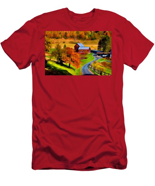 Digital Painting Of Sleepy Hollow Farm Men's T-Shirt (Athletic Fit)