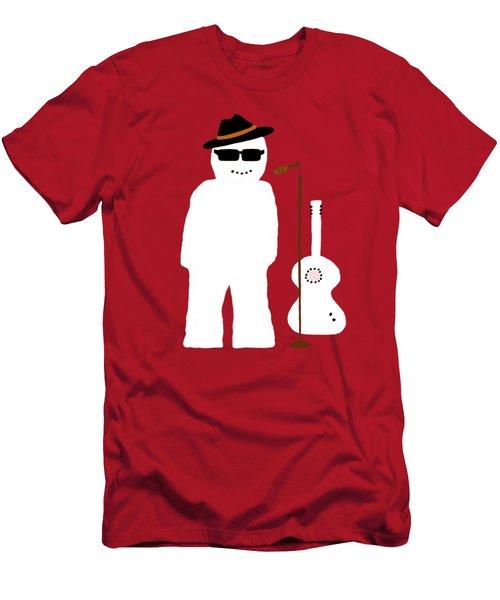 Snowman Musician Men's T-Shirt (Slim Fit) by Barbara Moignard