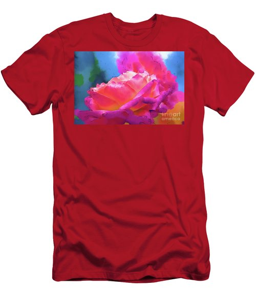 Soft Rose Bloom In Red And Purple Men's T-Shirt (Athletic Fit)