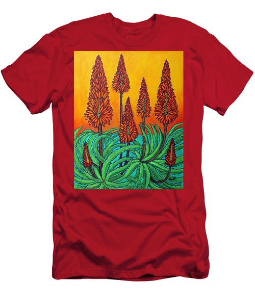 Men's T-Shirt (Athletic Fit) featuring the painting South African Fireball by Lisa  Lorenz
