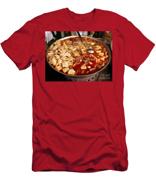 Men's T-Shirt (Slim Fit) featuring the photograph Spicy Tofu Dish With Duck Blood Cakes by Yali Shi
