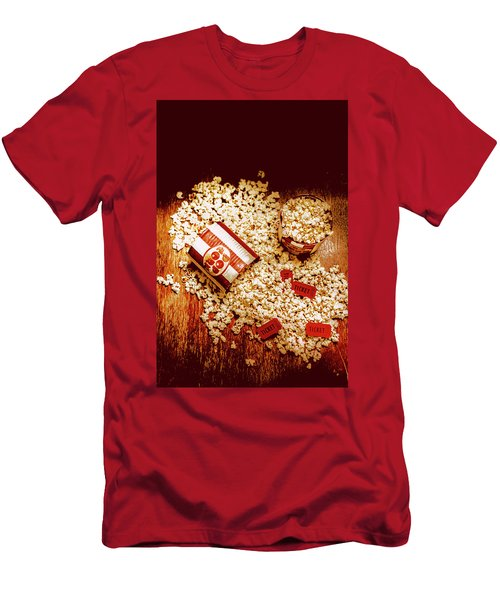 Men's T-Shirt (Athletic Fit) featuring the photograph Spilt Tubs Of Popcorn And Movie Tickets by Jorgo Photography - Wall Art Gallery
