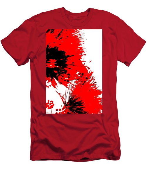 Splatter Black White And Red Series Men's T-Shirt (Slim Fit) by Betty Northcutt