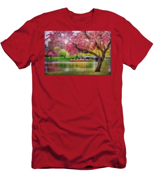 Men's T-Shirt (Slim Fit) featuring the photograph Spring Afternoon In The Boston Public Garden - Boston Swan Boats by Joann Vitali