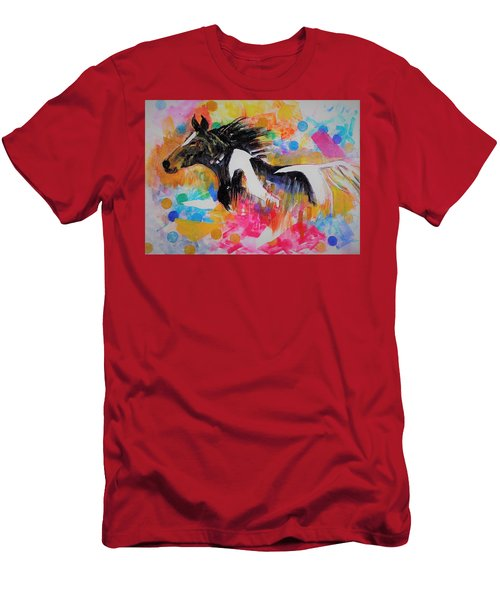 Stallion In Abstract Men's T-Shirt (Slim Fit) by Khalid Saeed