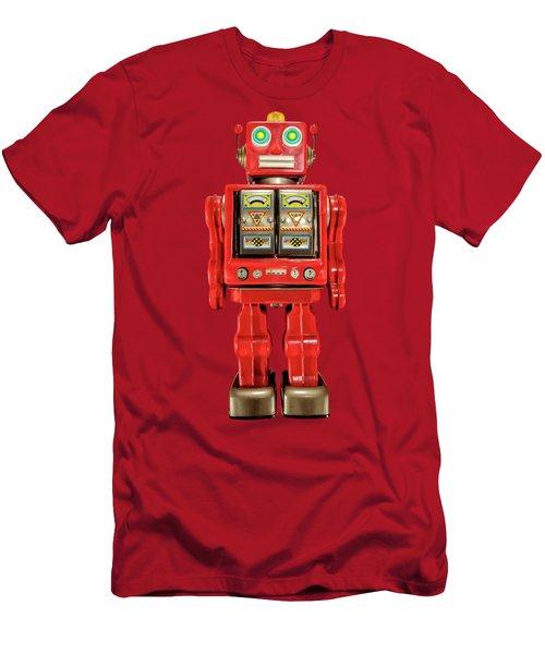 Star Strider Robot Red On Black Men's T-Shirt (Athletic Fit)