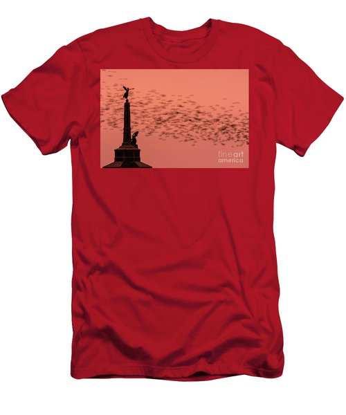 Starlings Sweeping Past Aberystwyth War Memorial Men's T-Shirt (Athletic Fit)