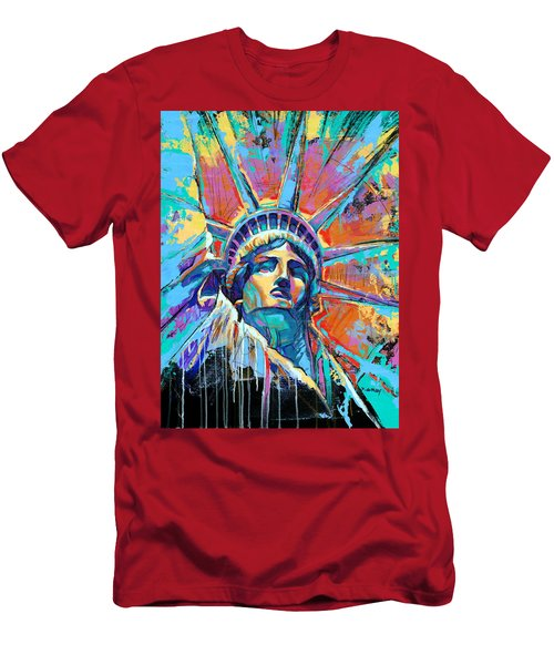 Statue Of Liberty New York Art Usa Men's T-Shirt (Athletic Fit)