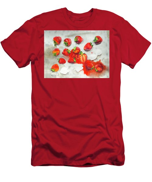 Strawberries On Paper Towel Men's T-Shirt (Athletic Fit)