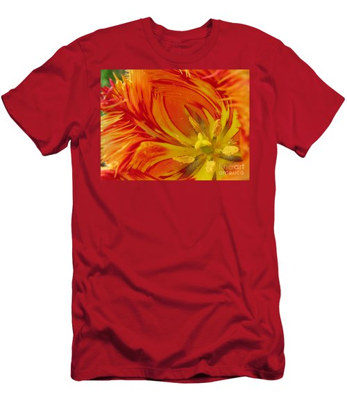 Striped Parrot Tulips. Olympic Flame Men's T-Shirt (Slim Fit) by Ausra Huntington nee Paulauskaite