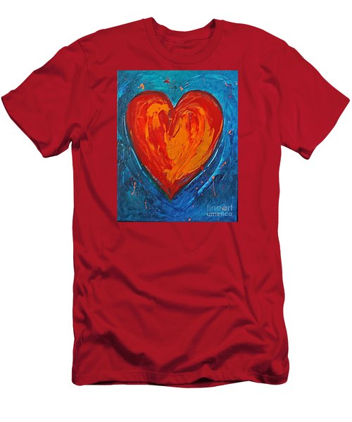 Men's T-Shirt (Slim Fit) featuring the painting Strong Heart by Diana Bursztein