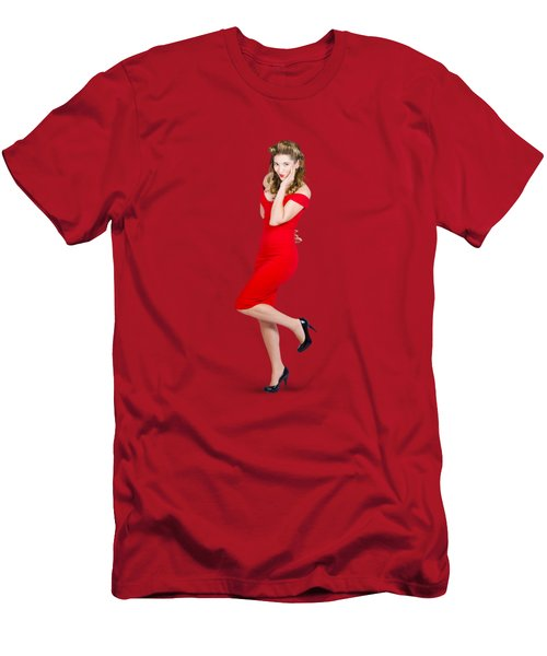 Stunning Pinup Girl In Red Rockabilly Fashion Men's T-Shirt (Slim Fit)