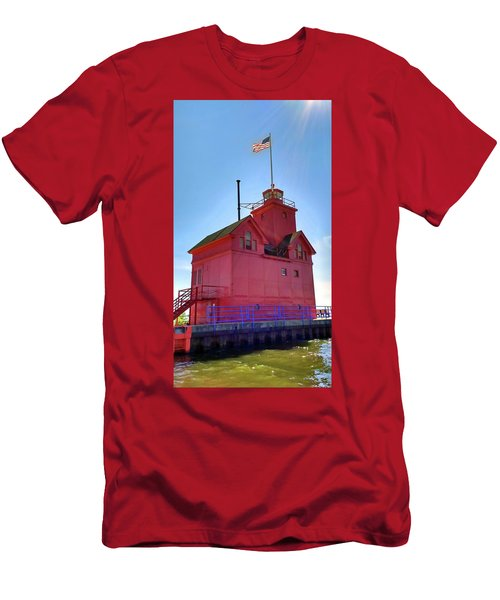 Men's T-Shirt (Athletic Fit) featuring the photograph Summer Sun And Big Red by Michelle Calkins