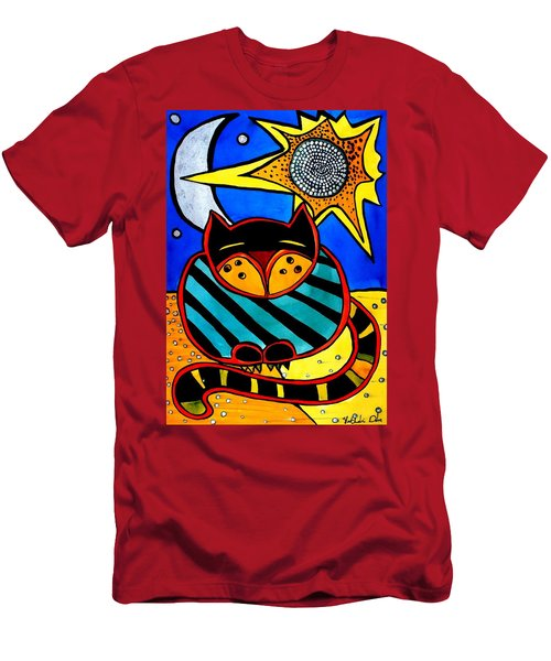 Sun And Moon - Honourable Cat - Art By Dora Hathazi Mendes Men's T-Shirt (Slim Fit) by Dora Hathazi Mendes