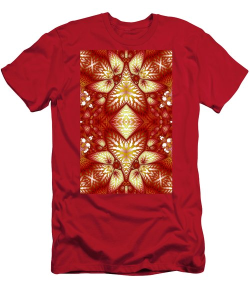 Sun Burnt Orange Fractal Phone Case Men's T-Shirt (Slim Fit) by Lea Wiggins
