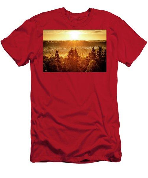 Sun Rising At Swamp Men's T-Shirt (Slim Fit) by Teemu Tretjakov