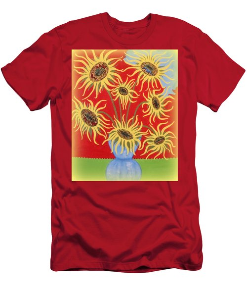 Sunflowers On Red Men's T-Shirt (Slim Fit) by Marie Schwarzer