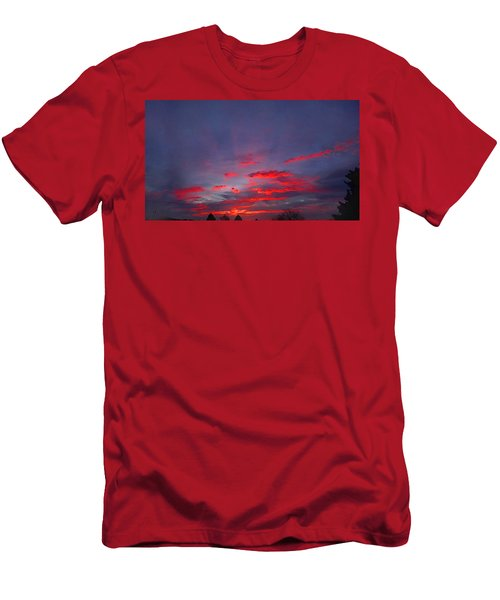 Men's T-Shirt (Athletic Fit) featuring the digital art Sunrise Abstract, Red Oklahoma Morning by Shelli Fitzpatrick
