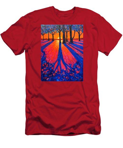 Sunrise In Glory - Long Shadows Of Trees At Dawn Men's T-Shirt (Slim Fit) by Ana Maria Edulescu