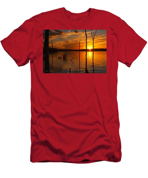 Men's T-Shirt (Athletic Fit) featuring the photograph sunset @ Reservoir by Angel Cher