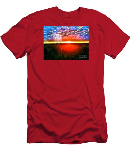 Men's T-Shirt (Slim Fit) featuring the painting Sunset by Amy Sorrell