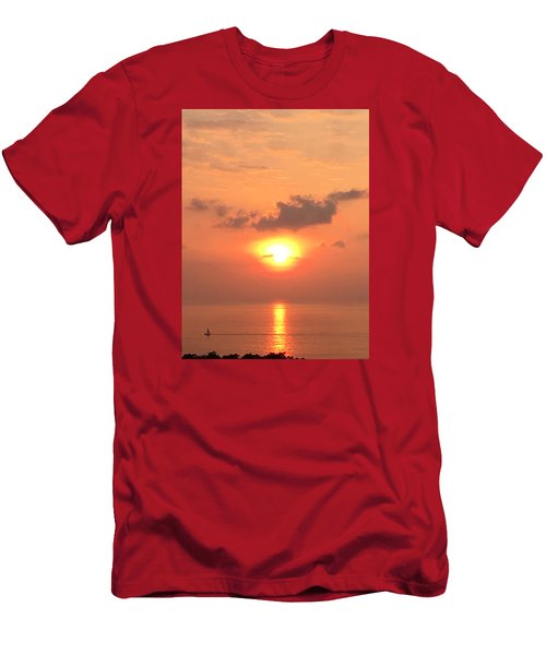 Men's T-Shirt (Slim Fit) featuring the photograph Sunset And Sailboat by Karen Nicholson