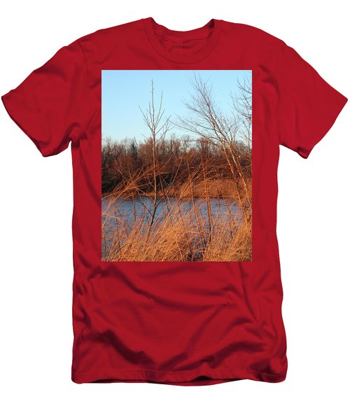 Sunset Field Over Water Men's T-Shirt (Athletic Fit)