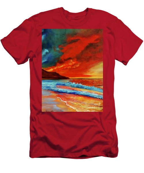 Sunset Hawaii Men's T-Shirt (Slim Fit) by Jenny Lee