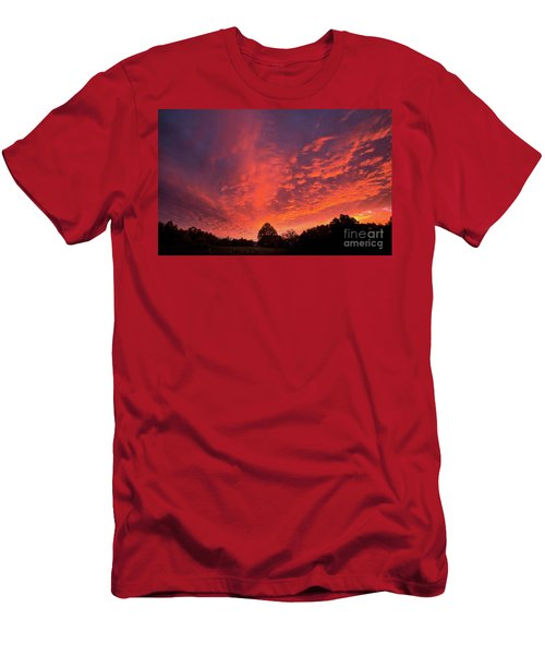 Sunset Over A Maine Farm Men's T-Shirt (Slim Fit) by Alana Ranney